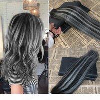 100% Jungfrau Remy Tape in Erweiterungen Human Hair Omber Sliver Tape auf Haare Extensionen Doppelschuss Gule in Brasilianischen Haar 100g 40 stücke