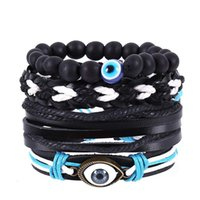 Charm Bracelets 4pcs set Hippie Punk Black Leather Evil Eye White Blue Cord Knots Beads Layers Stackable Wrap Wide Bracelet Bangle For Man
