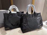 Простой темперамент элегантный сплошной цвет нейлоновая сумка для покупок высокого класса большой емкости круговой дизайн тиснение шаблон Tote сумки ежедневные коммутации легкой сумки