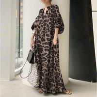 Ethnic Clothing Long Sleeve Shirt Dress Fashion Leopard Print Loose Casual Women's African Skirt 2021 Fall Stand Collar Bohemian Slim Robe