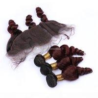 99J أومبير الشعر البشري ينسج مع الدانتيل أمامي إغلاق اثنين لهجة 1B 99J العذراء الشعر ملحقات موجة فضفاضة متموجة مع الدانتيل أمامي إغلاق