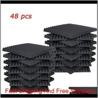 """48 PC Acoustic Panels Studio Schalldämmung Schaumkeil 1 """"x 12"""" x 12 """"Fzflr 8iw19"""