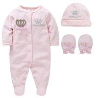 Baby Girl Ropa Set Boy Pijamas Bebe Fille Con Guantes Sombreros Algodón Transpirable Soft Ropa Bebe Newborn Sleeers Baby Pjiamas 210226