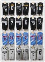 "Mens Brooklyn ""Nets"" Rembeble Jersey Kyrie Kevin 7 Durant 11 Ирвинг Джеймс 13 Хардин Баскетбол Шорты Баскетбол Майки Blqck Navy"