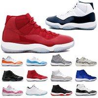 새로운 xi 11s 상자 11 망 농구 신발 2016 공간 잼 45 체육관 레드 특허 가죽 + 나일론 블랙 콩코드 11s 여성 트레이너 자정 해군 Ry9h