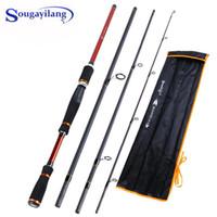 Barco Rods de Pesca Sougayilang 4 Seções Portáteis Baitcasting Rod 210/240 / 270cm Comprimento Comprimento Fibrafishing Carbon Endereço de Pesca
