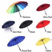 Long Straight Handle Umbrella 16K Strong Windproof Solid Color Pongee Umbrellas Rainbow Men Women Sunny Rainy Bumbershoot NHE8323