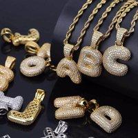 A-Z Custom Name Bubble Initial Letter Necklaces & Pendant Charm For Cubic Zirconia Hip Hop Jewelry Rapper Designer Necklace