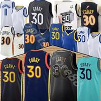 Goldenstate Stephen 30 كاري 11 طومسون كرة السلة جيرسي الرجال أعلى أزرق أبيض أسود كرة السلة الفانيلة 2020 2021 أعلى