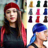 유니섹스 벨벳 Durags Bandana Turban Hat 해적 모자 가발 Durag 바이커 모자 머리띠 야외 스포츠 모자 헤어 액세서리
