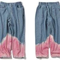 Краска Гонтавидский галстук цвет блокировки щипы гарем грузовые джинсовые джинсы уличная одежда мужская хип-хоп Harajuku повседневная мешковатые джинсы брюки брюки C0222