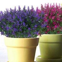 인공 라벤더 꽃 식물 6 조각, 실물 같은 자외선 방지 가짜 관목 녹지 덤불 꽃다발 홈 k를 밝게하십시오.