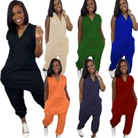 Women plus size Jumpsuits Rompers summer fall clothing sexy club sleeveless v-neck solid color pocket leggings full-length pants sportswear bodysuits running 01619