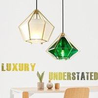 Pendant Lamps Simple Art Glass Single Head Chandelier For Diningroom Modern Restaurant Bar Counter Led Hanging Diamond Design Lights