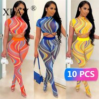 Women's Two Piece Pants Wholesale Items Mesh Print Stockings Pant Sets For Women Sexy Fashion Casual Short Sleeve Bandage Crop Top And Panti