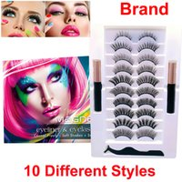 10 Pairs Magnetic Eyelashes with Eyeliner 3D 5D Soft EyeLash 2 Tubes Liquid Eyeliner Brand Makeup Glue free Natural Look Reusable Lash and Tweezers