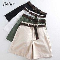 Jielur shorts all-match 4 faixas de cor sólida mulheres casuais uma linha alta cintura feminina femme chique s-xxl senhoras inferiores 210607
