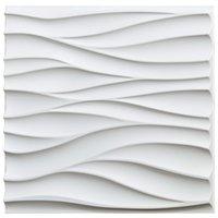 ART3D 50X50CM 3D壁パネルPVCマットホワイトの波状防音の自己接着性(12タイルのパック)