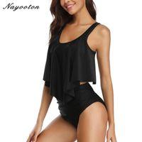 Sexy bikini negro conjunto traje de baño mujeres más tamaño traje de baño empuje hacia arriba alto cintura de dos piezas traje de baño Maillot de Bain Deporte Femme