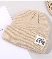 2021 winter new letter knitted hat autumn and winter outdoor warmth thickened sports hood ear protection solid color hat