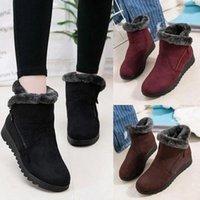 MoneRffi Women Snow Boots Plush Zippers Warm Flat Ankle Suede Winter Shoes Woman Bota Feminina