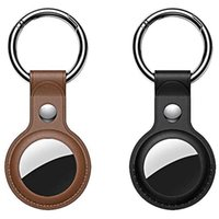 Hooks & Rails Upgrade Version For Air Tag Holder With Keychain, Luxury Pu Leather,Suitable Apple ( 2 Pack)