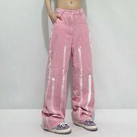 Women's Jeans Pink Female 2021 Autumn Design Sense Ins Inkjet Wild Trend Loose Straight Wide-leg Pants Students
