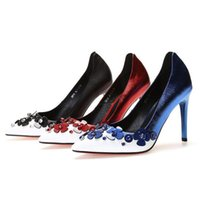 2021 Women dress shoes Fashion Flowers Color matching decoration comfortable Asakuchi Pointed Women's High heel Ladies party chaussure size 34-39 With box