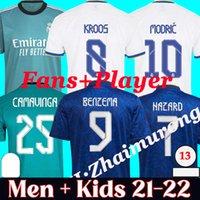 2021/22 Real Madrid Soccer Jerseys Fans und Spieler Football Hemden Hazard Sergio Ramos Benzem Asenssio Modric Marcelo 21 22 Camiseta Männer + Kinder Kit Uniformen