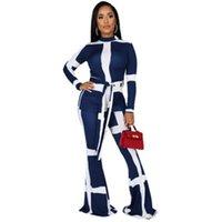 Faixa faixa de faixa de faixa trilhas de moda tendência redondo pescoço de manga longa bandage tops boot corte calça terns designer feminino outono casual sets