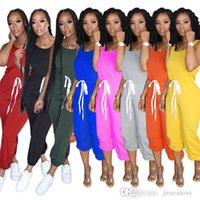 Womens Solid Color Jumpsuits Fashion Leisure Sports Jumpsuit Summer Ladies Rompers Plus Size Women Clothing S-3xl