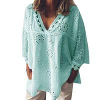 JOCOO JOLEE Yaz Kadın Dantel Bluz Zarif Oymak Orantular Gömlek Seksi Yarım Kollu V Boyun Gevşek Bluz Rahat Tops 210302