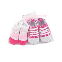 Baby Shoes First Walkers Newborn Shoe Girls Boys Socks Crown Dot Infant Footwear Cotton Canvas Moccasins Soft Toddler Wear 2Pcs Sets 0-1T B8731