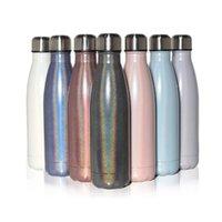17 унций Радуга Cola Форма Изолированная бутылка для воды Двойная стена Вакуумная Фласка 500 мл Спорт Термовые термос