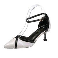 Sapatos de vestido outono inverno francês V-botão pontiagudo dedo alto salto alto 8 cm Mulheres Slim Bombas Black V direita sem caixa