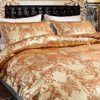 Bettwäsche-Sets Jacquard Cometer Gold Super King, Bettbezug 220x240, gewebter Satin-Stoff und Kissenbezüge Hohe Qualität für Schlafzimmer
