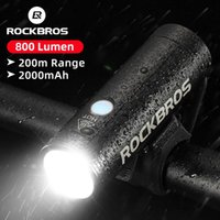 Rockbros 자전거 전면 빛 방수 USB 충전식 자전거 조명 800lm 사이클링 헤드 라이트 LED 2000mAh 손전등 MTB 램프