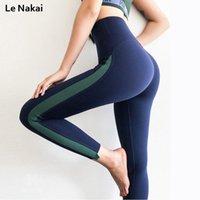Le Nakai High Taille Push Up Pantalon de Yoga Hip Croissance Saisie Gym Scorging Ligne Side Patchwork Sports Sports Fitness Athlétique