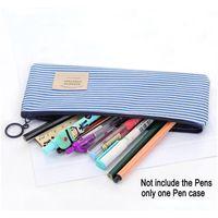 새로운 캔버스 지퍼 연필 케이스 간단한 스트라이프 그리드 펜 가방 학교 연필 메이크업 파우치 화장품 저장 가방 JLLXHP 홈