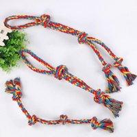 Dog Apparel 3PCS Pet Double Head Knot Bite Cotton Rope Toy Rainbow Series Woven Set
