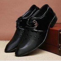 Zapatos de Oxford de cuero para hombres Vestido de zapatos Hombres Formal Punta de Toe Boda de Negocios Plus Tamaño Tamaño Formal Boda Lujo C0JL #