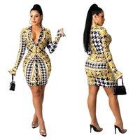 K7037 Fall new style European and American women's Blouses & Shirt digital printing slim long-sleeved dress