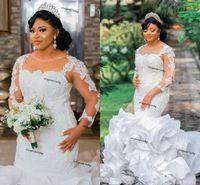 Arabic Aso Ebi Luxurious Lace Mermaid Wedding dresses 2021 Plus Size Illusion Long Sleeve Ruffles Tiered Skirt Bridal Gown