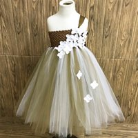 Girl's Dresses Princess Ivory Flower Girls Wedding White Gold Kids Tutu With Petals 1-14 Year Toddler Baby Clothes