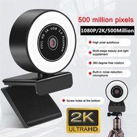 Webcams Autofokus HD Webcam 1080P 2K USB 5Million Pixel Web Camera PC Laptop-Desktop-Computer mit Mikrofonringlicht-Stativ-Cam