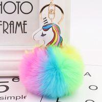 POM anahtarlık ve unicorn peluş oyuncak tavşan yapay anahtarlık ve firkete kabarık fourrup deri kadın hediye J0607