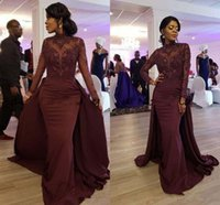 Burgundy Lace Stain Mermaid Evening Formal Dresses with Long Sleeve 2021 High Neck Overskirt African Runway Women Occasion Prom Gown
