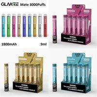 Nuovo dispositivo Glamee Mate Monouso Dispositivo VAPE VAPE 3000 Sfuffs 1800mAh 9ML Premilled Vapor BAR Stick Stick Pen Starter Kit 100% originale