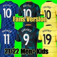 # 9 Lukaku # 10 Pulisic # 7 Kante Home Blue Soccer Jerseys 21/22 # 11 Werner # 19 Mount Away Yellow Soccer Shirts 2021/2022 Anpassad # 29 Havertz 3 fotboll uniformer