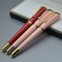 Wysokiej Jakości Słodkie Czerwone Różowe Czarne Ballpoint Piłki Pióra z Pearl Clip Business Office Dostaw Moda Pisanie Pióro Pen Dla Kobiet
